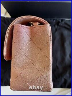 Chanel 21S Metallic Lambskin Rose Gold Mini Rectangle Flap Bag LGHW RARE LN