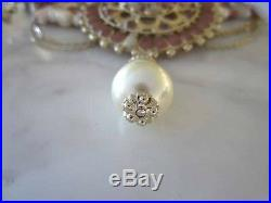 Chanel AUTH CC Logo Pink Medallions Glass Beads Pearls Seashell Necklace NIB 11C