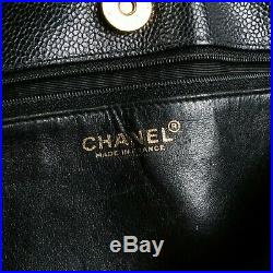 Chanel Black Caviar Leather Shoulder Bag Tote CC Gold Chain Medium