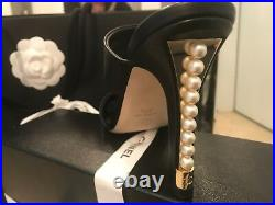 Chanel Black Leather Shoes with Pearls & Gold strip on each Heel New with Box