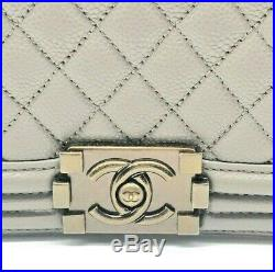Chanel Boy Bag Medium Quilted Grey Brushed Matte Gold Hardware