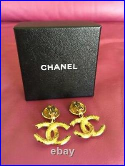 Chanel CC Logo Brand New Authentic Gold Tone Clip-on Drop Earrings. Reg. $2000.00