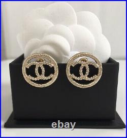 Chanel CC Logo Gold Tone Metal Earrings 0.6