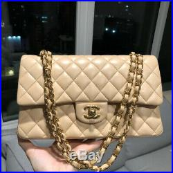 Chanel Classic Double Flap Medium Bag Quilted Beige Lambskin Leather Gold CC