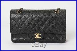 Chanel Classic Flap Black Caviar Leather Gold Tone Hardware Medium Handbag