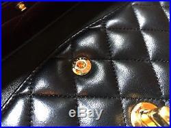 Chanel Classic Medium Flap Bag Black Lambskin Gold Hardware France EUC