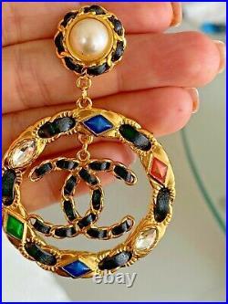 Chanel Cruise 2020 CC Logo Gold Tone Lambskin Dangle XL Drop Earrings