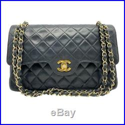 Chanel Double Flap Medium Classic Quilted Chain Black Leather Shoulder Bag