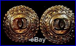 Chanel Earrings Gold Tone Logo Numbered France with Box Great Detail