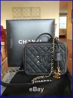 Chanel Filigree Vanity Bag Case Black Caviar Quilted Gold Hardware Medium NEW