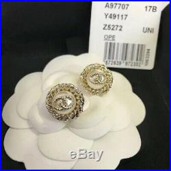 Chanel Gold Tone Button Pearl Studs Earrings