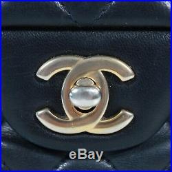 Chanel Mini Wide Navy Blue Lambskin Leather Crossbody Flap Bag Gold CC Shoulder