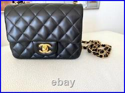 Chanel Quilted Black Lambskin Square Mini Flap Bag Gold Hw