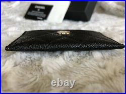 Chanel Quilted Caviar Card Holder Wallet Black With Gold Hardware