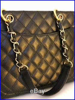 Chanel / Quilted Gold Hardware Caviar Skin Chain Grand Shopping Tote Bag France