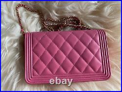Chanel Rose Pink Leather Gold Boy Wallet on a Chain 2018 Classic Crossbody Bag