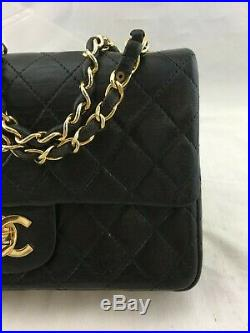 Chanel Vintage Black Quilted Leather Double Gold Chain Mini Double Flap Bag