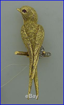 Chic 1930s DIAMOND RUBY YELLOW GOLD SWALLOW PIN BROOCH by REGNER PARIS FRANCE