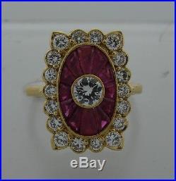 Chic VAN CLEEF & ARPELS VCA FRANCE DIAMOND RUBY YELLOW GOLD RING Signed Feminine
