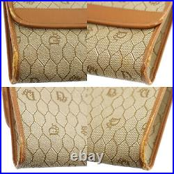 Christian Dior Honey Comb Chain Shoulder Bag Brown Leather Vintage Auth #XX194 Y