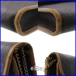Christian Dior Honey Combo Chain Shoulder Bag Black PVC Leather Auth #AA485 I
