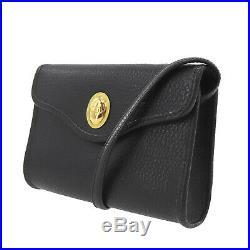 Christian Dior Logos Shoulder Bag Black Leather France Vintage Authentic #Z282 O