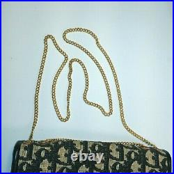 Christian Dior Shoulder Bag with Chain Strap Black & Gold, Leather & Canvas