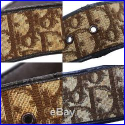 Christian Dior Trotter Belt Brown Canvas Leather Gold France Authentic #CC410 M