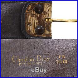 Christian Dior Trotter Belt Brown Gold Canvas Leather Vintage Authentic #CC410 O