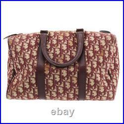 Christian Dior Trotter Boston Hand Bag Bordeaux Canvas Vintage Auth #UU488 Y