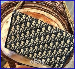 Christian Dior Trotter Gold Chain Navy Canvas Vintage France Shoulder Bag