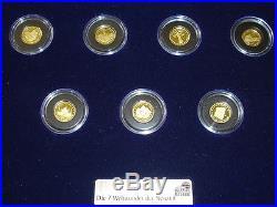 ELFENBEINKÜSTE 7x 1500 Francs Die 7 Weltwunder der Neuzeit GOLD