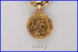 Estate 25 w FRANCE 1875 COIN 22k 14k Gold 7mm CUBAN LINK CHAIN Necklace 41g