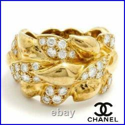 Estate CHANEL 18K Yellow Gold Leaf Motif Diamond Ring / Band