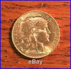 FRENCH ROOSTER GOLD COIN France Gold 20 Franc AU 1908