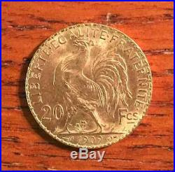 FRENCH ROOSTER GOLD COIN France Gold 20 Francs AU 1909