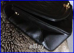FULL SET CHANEL DIANA Black Lambskin Leather 24K Gold Chain Medium Flap Bag