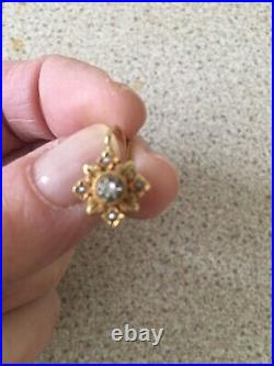 Fine Antique French 18ct Gold Seed Pearl Dormeuses Earrings