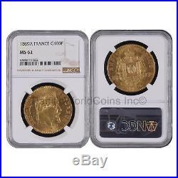 France 1869A Napoleon III 100 Francs Gold NGC MS62