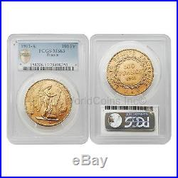 France 1911-A Angel Writing 100 Francs Gold PCGS MS63