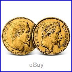 France 20 Francs Napoleon III Gold Coin Random Date Average Circulated