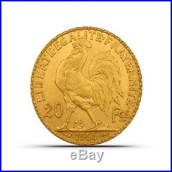 France 20 Francs Rooster Gold Coin Random Date About Uncirculated (AU)