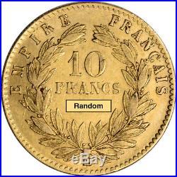 France Gold 10 Francs (. 0933 oz) Napoleon III Laureate Avg Circ- Random Date