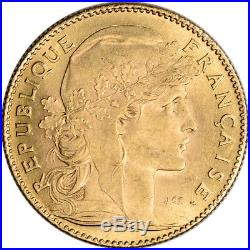 France Gold 10 Francs (. 0933 oz) Rooster Avg Circ Random Date