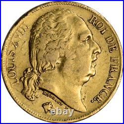 France Gold 20 Francs (. 1867 oz) Louis XVIII Avg Circ Random Date