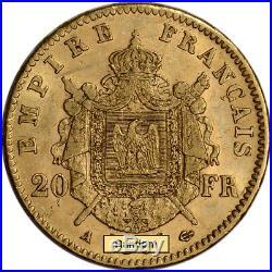 France Gold 20 Francs (. 1867 oz) Napoleon III Laureate Avg Circ- Random Date