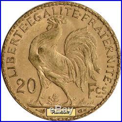 France Gold 20 Francs (. 1867 oz) Rooster XF/AU Random Date