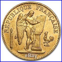 France Gold 20 Francs Lucky Angel AU SKU #44141