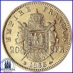 Frankreich 20 Francs Napoleon mit Lorbeerkranz und Bart sehr schöne Goldmünze