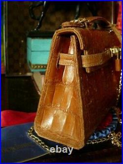 GORGEOUS Ultra Rare Alligator RAFLO Vintage Mini Kelly Birkin Hand Bag Purse